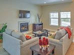 Curl up on the plush couch and warm up next to the gas-burning fireplace.