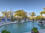 Swim a lap in the private pool.