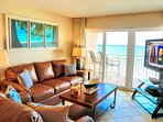 Family room features breathtaking oceanfront views, 55' TV, & a queen sleeper