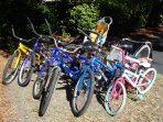 A few of the dozen FREE bikes available for your use