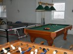 Garage game room with pool table, ping pong, foosball, stereo system - AWAY FROM THE PARENTS!
