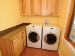 Washer and dryer is located upstairs.