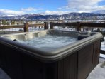 Private Hot Tub - Newer 6 person hot tub on private deck with mountain and lake views.