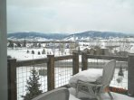 Winter View from Deck - Private deck with mountain and lake views.