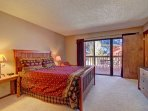 Master Bedroom  - Spacious master bedroom features queen bed, TV, private bathroom & gorgeous mountain views.