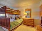 Guest bedroom - Guest bedroom features bunk bed with one twin and one double and HD TV.