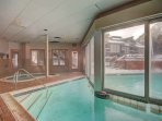 Indoor/outdoor pool  - Clubhouse features an outdoor and indoor pool.  There is also an indoor hot tub and sauna.