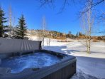 Brand new hot tub - Private hot tub on deck with stunning mountain views.  On hole #1 of golf course.