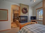 Master Suite with HD TV, gas fireplace