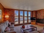 SkyRun Property - 'A208 Lake Cliffe Condos  2BR 2BA' - Living area with stunning views - Features HD TV & Wood burning...