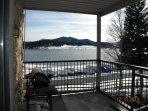 BBQ on deck with views - Private covered deck with BBQ and patio table.  Enjoy a BBQ any season.