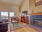 Open Living Room - Features queen sofa sleeper, HDTV & gas fireplace.