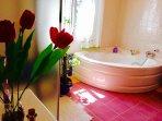 Cuarto de baño con bañera y placa de ducha.