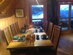 Dining table comfortably seats 8