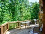 Rear Deck Overlooking Woods with Gas Grill