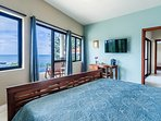 Downstairs BR-2 with ocean and pool view, king bed, AC and en suite bathroom