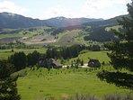 An ariel view of summertime at Bridger Hills Retreat