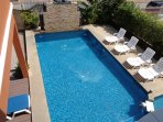 Great Large Private Pool South Facing Sun All Day with Ample Sun Loungers Great Waterfall Feature