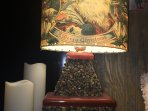 vintage fireplace xmas lamp lighting up hotel suite