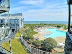 Pool & ocean, taken from living room balcony