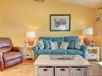 Comfortable seating w/ sleep sofa for extra guests