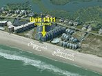 Aerial view showing location of unit in complex