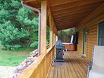 Covered deck with grill & hot tub