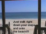 Walk a few short steps to the beach