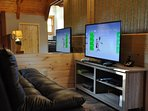 The gaming loft is upstairs along with a Queen Size Bed and Full Bathroom.  Xbox and Cable TV