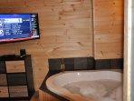 Whirlpool tub with flat screen TV