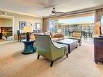 Spacious open floor plan with a queen-convertible sofa sleeper