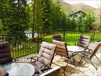 Back Patio Overlooking Gore Creek With Spacious Yard