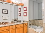 The master bath is large and modern.