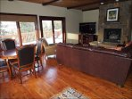 Second Great Room with Fireplace, Large Flat Screen TV and Table Seating Area