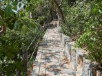 Stone path to the private beach.