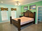 2nd floor master suite w/ en-suite bthrm/jacuzzi tub,  King size memory foam bed,TV, balcony& futon.