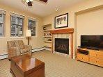 Gas fireplace and large flatscreen TV