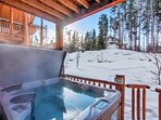 Private hot tub and it's winter view