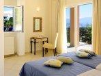 Twin bedroom with A/C, en suite bathroom and terrace access