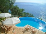 Private swimming pool with sea views