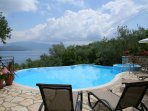 Private swimming pool with terrace and views