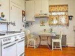 Hardwood flooring meets your feet in the kitchen.