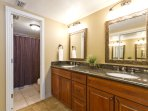 Master bathroom with a tub/shower