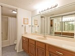 Master bathroom with a tub/shower