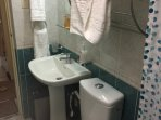 At the ground floor toilet and bath with hotwater-