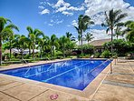 Lap pool and fitness centre with hot tub are just steps from our lanai.