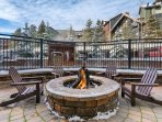 Outdoor Fireplace by the Hot Tubs