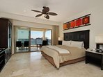 Master bedroom with attached balcony
