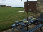Alfresco dining with sea views.