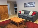 Living Room: Sofa and Cable TV behind Armoire